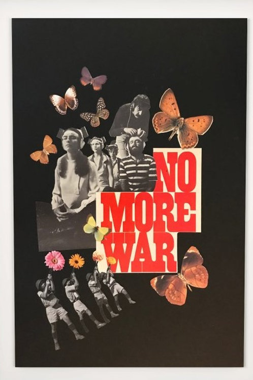 collage print, butterflies, peace