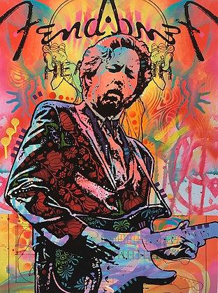 Eric Clapton- Orange Portrait, Giclee print, Street art by Dean Russo at Deep West Gallery