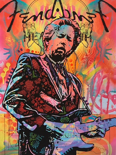 Eric Clapton- Orange Portrait, Giclee print, Street art by Dean Russo at Deep West Gallery
