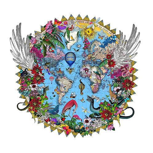 Here be dragons blue world print, Urban and Street art by Kristjana S Williams at Deep West Gallery