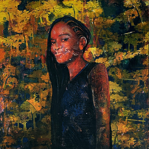 Madagascar African girl original painting, urban art from Pav Szymanski at Deep West Gallery