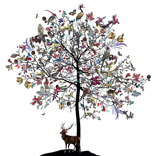 Butterflies, flowers Clearing tree print, Urban and Street art by Kristjana S Williams at Deep West Gallery