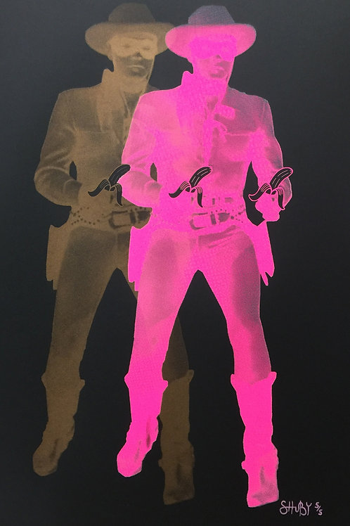 Gold and pink long rangers with banana, Giclee print from Shuby, Urban and Street  art artwork at Deep West Gallery