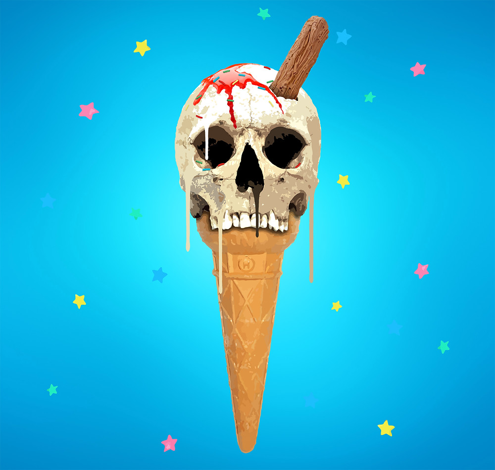 ice cream,skull