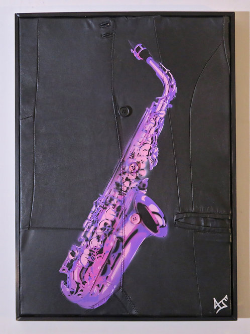 Saxphone in Purple, Spray Painting and Stencil on leather jacket, Street art, by Anna Jaxe at Deep West Gallery