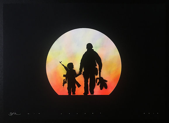 Gunman in black, spray painting from Otto Schade Street (Graffiti ) artwork at Deep West Gallery