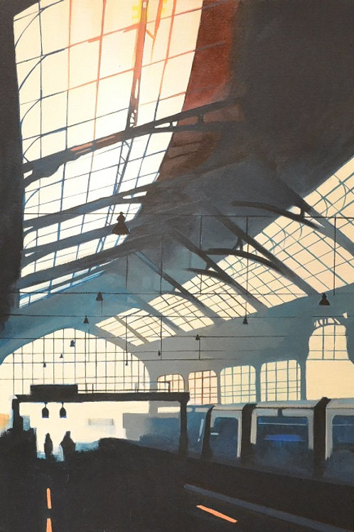 Brighton train station,  Urban art  , original painting - Mark Hooley artwork at Deep West Gallery
