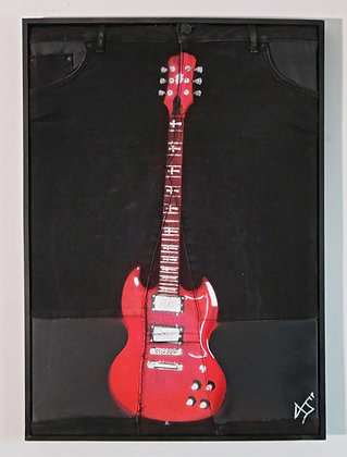 Guitar in Red, Spray Painting and Stencil on Denim Jeans, Street art, by Anna Jaxe at Deep West Gallery