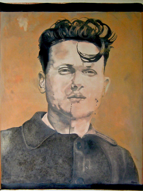 male Rebel portrait oil painting, urban art from Alfonso Ragone at Deep West Gallery