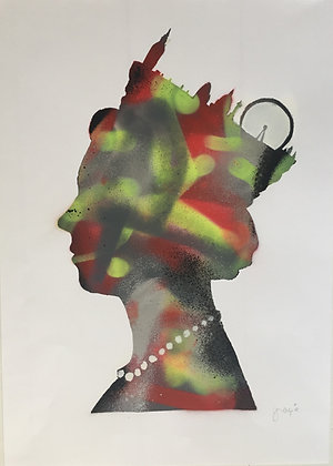 Elizabeth Queen's spray painting from GrAzie Street (Graffiti ) artwork at Deep West Gallery