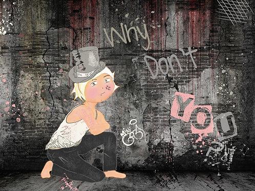 Why dont you  Girl Portrait ,  giclee print - Mini Gabi Urban artwork ,at Deep West Gallery