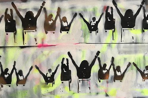 Dancing spray painting from GrAzie Street (Graffiti ) artwork at Deep West Gallery