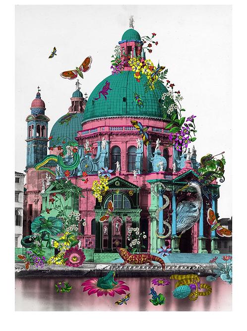 Reptilian Rosa Kirkja print, Urban and Street art by Kristjana S Williams at Deep West Gallery