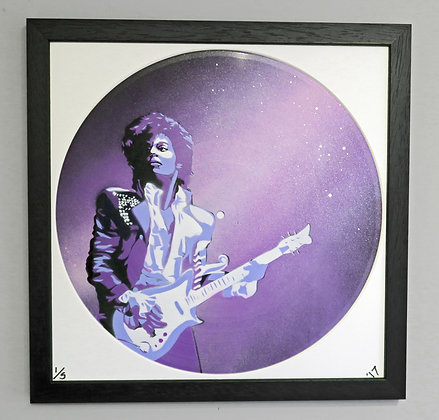 Prince portrait , Spray Painting and Stencil on Vinyl Record, Street art, by Anna Jaxe at Deep West Gallery
