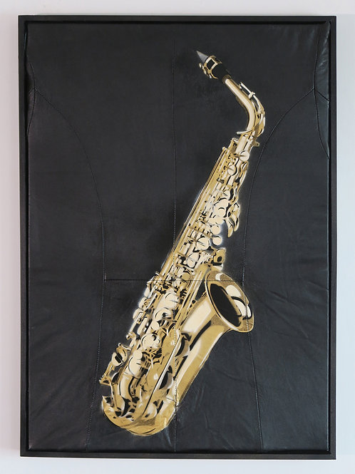 Saxphone , Spray Painting and Stencil on Leather Jacket, Street art, by Anna Jaxe at Deep West Gallery