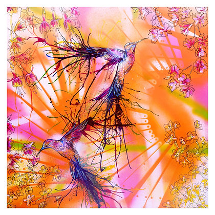 Hummingbirds in Costa Rica giclee print from British urban artist Emily Donald at Deep West Gallery