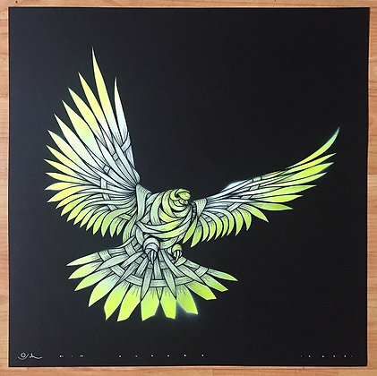Dove, pigeon, ribbons in yellow and white , spray painting from Otto Schade Street (Graffiti ) artwork at Deep West Gallery