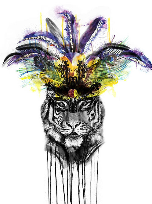 Tiger,feathers, print, urban artwork by Kerry Beall at Deep West Gallery