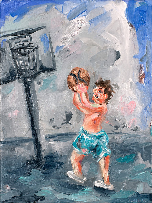 Playing basketball oil  painting from Joe Carrozzo urban art artwork at Deep West Gallery
