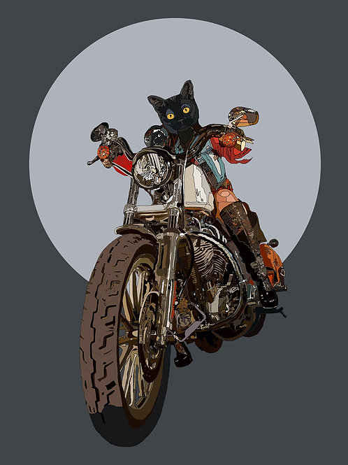 hybrid  cat in mortocycle print from Paul Kingsley Squire Urban art artwork at Deep West Gallery