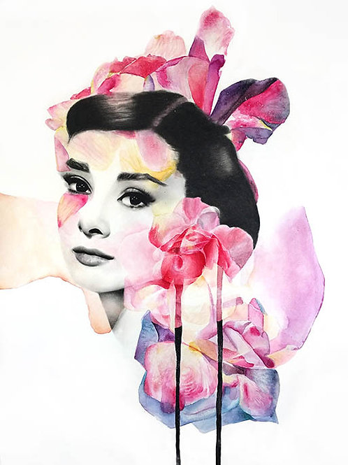 Pink Hepburn portrait , Original charcoal and watercolor, urban artwork by Kerry Beall at Deep West Gallery