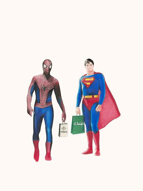 Spideman, superman, star wars  portrait, Giclee print from Zoe Moss, digital and Pop art artwork at Deep West Gallery