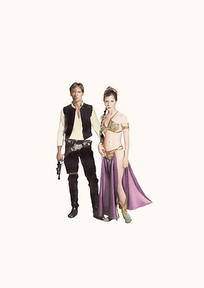 Star wars,Han Solo,Princess Leia portrait  , Giclee print from Zoe Moss, digital and Pop art artwork at Deep West Gallery