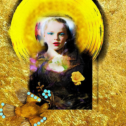 Princess girl in gold digital painting canvas, Pop art by Gordon Coldwell at Deep West Gallery