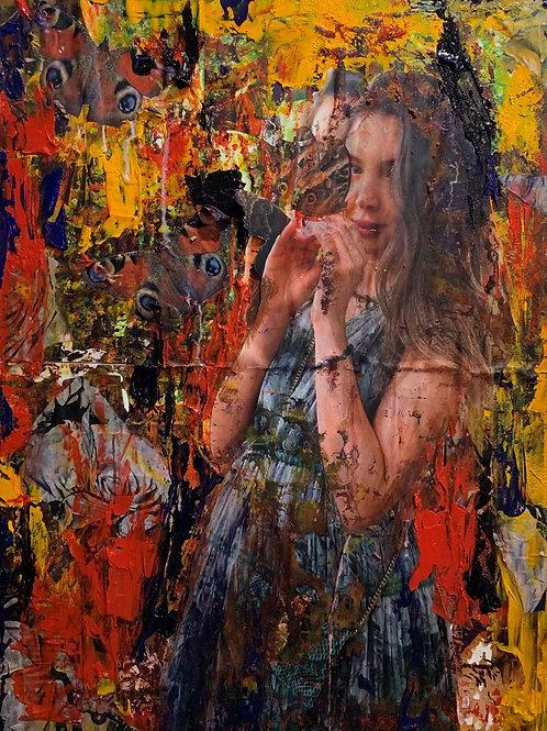 Haitian girl original painting, urban art from Pav Szymanski at Deep West Gallery