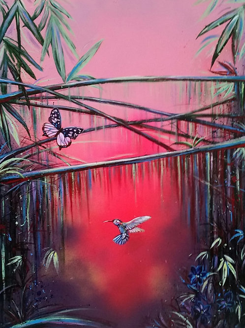 Pink Jungle painting, Acrylic and oil on canvas, Street art, by Annette Jansen at Deep West Gallery