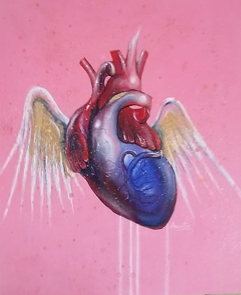 Prince Heart , Spray Painting and oil on canvas, Street art, by Annette Jansen at Deep West Gallery