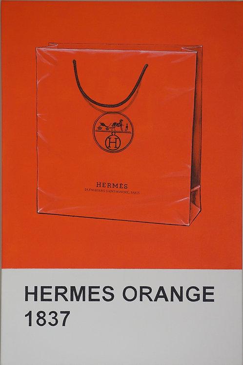Hermes orange bag original painting from Anne-Marie Ellis Contemporary art artwork at Deep West Galle
