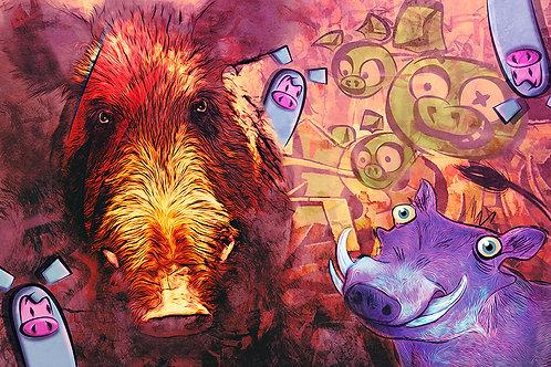 Urban Hog - Dark art by Deadmansdust at Deep West Gallery