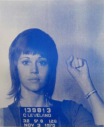 Jane Fonda Silk print, urban art by David Studwell at Deep West Gallery