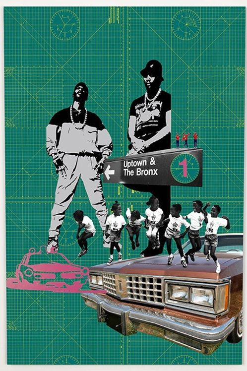 black man and car  print from Phil Bedford, Urban (collage ) art artwork at Deep West Gallery