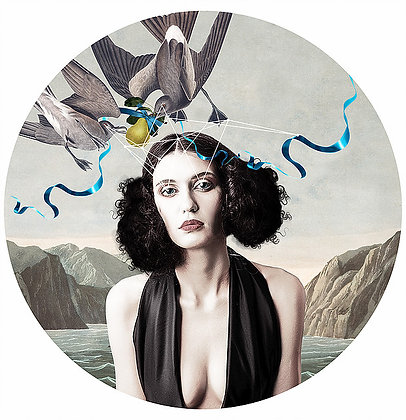 sexy beauty portrait with birds, flowers and lakes, Street art, Urban art from Alexandra Gallagher at Deep West Gallery