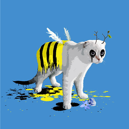 Cat, bee Giclee print, Pop art, Urban art,  by Carl Moore at Deep West Gallery