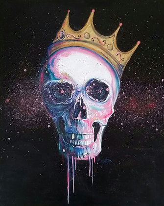 Skull with Crown, Spray Painting and oil on canvas, Street art, by Annette Jansen at Deep West Gallery