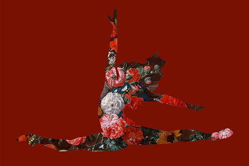 Flower portrait of ballet Dancer in Deep Red, Urban art by Agent X at Deep West Gallery