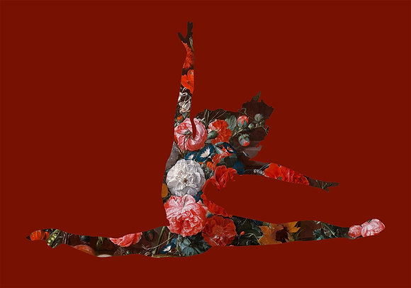 Flower portrait of ballet Dancer in Deep Red, Urban art by Agent X at Deep West Gallery