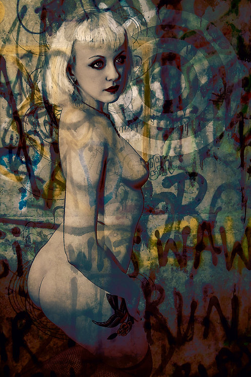 Sexy beauty portrait - urban art by Deadmansdust at Deep West Gallery