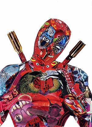Deadpool's portrait print from Glil Collage artwork at Deep West Gallery