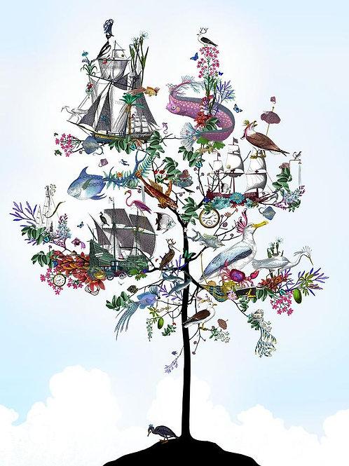sea born tree print, Urban and Street art by Kristjana S Williams at Deep West Gallery
