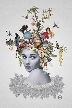 Jean Simmons Portrait  collage print - Maria Rivans artwork at Deep West Gallery