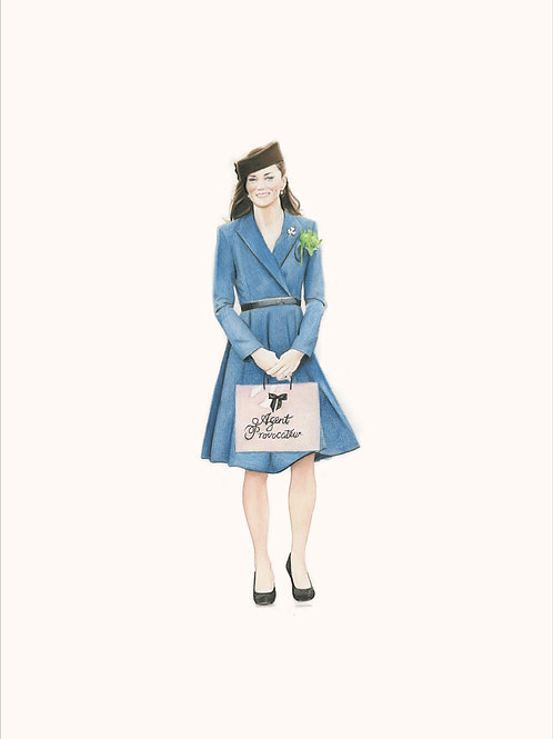 Princess Kate portrait in blue, Giclee print from Zoe Moss, digital and Pop art artwork at Deep West Gallery
