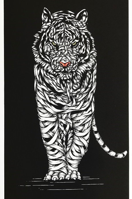 White tiger, ribbons ,screen print from Otto Schade Street (Graffiti ) artwork at Deep West Gallery