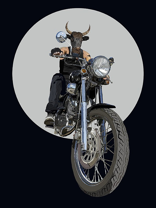 hybrid  goat in motorcycle print from Paul Kingsley Squire Urban art artwork at Deep West Gallery