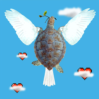 Turtle love Dove, Giclee print, Pop art, Urban art,  by Carl Moore at Deep West Gallery