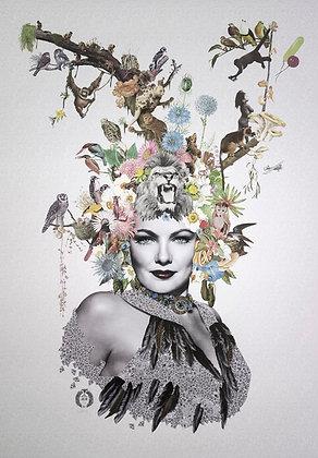 Gene Tierney Portrait  collage print - Maria Rivans artwork at Deep West Gallery