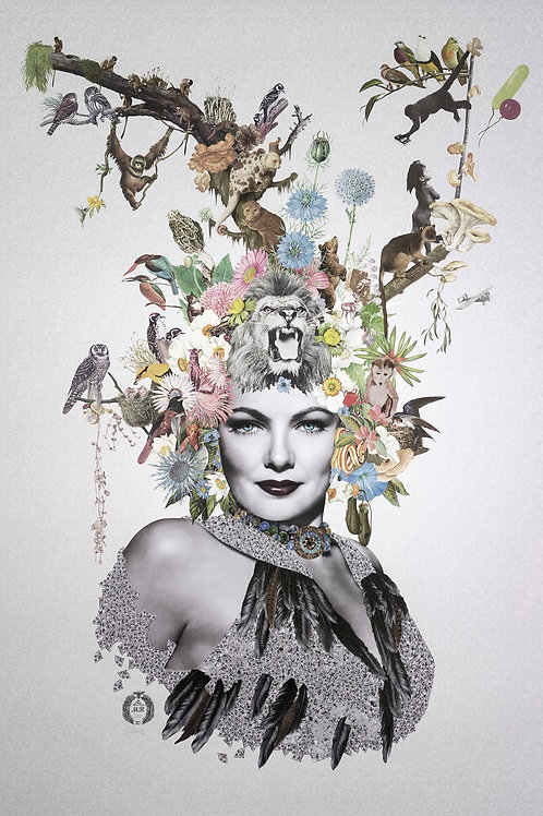 Gene Tierney Portrait  collage print - Maria Rivans artwork at Deep West Gallery